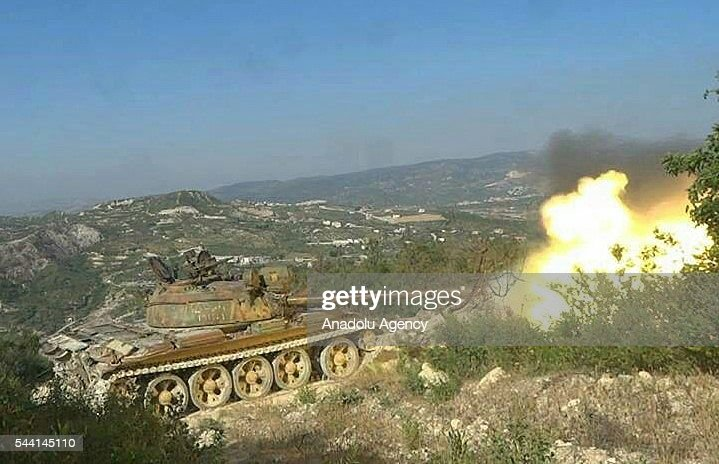 Syrian oppositions attack to Jabal al-Akrad district as they took control of some villages and hills in Lattakia, Syria on July 1, 2016.