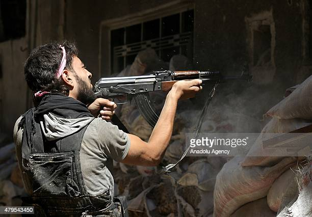 Syrian oppositions clash with Assad regime forces in Jobar district of Damascus Syria on July 5 2015