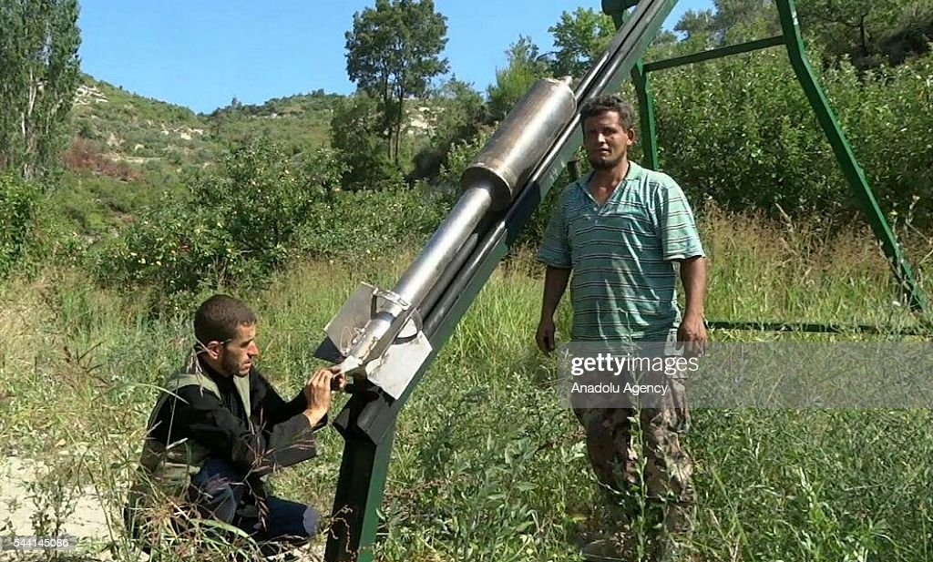 Syrian oppositions launch missile attack to Jabal al-Akrad district as they took control of some villages and hills in Lattakia, Syria on July 1, 2016.
