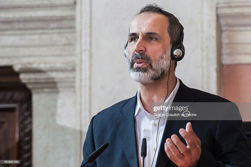 Syrian opposition's National Coalition chief Ahmed Moaz al-Khatib speaks during a press conference after the meeting of the 'Friends of the Syrian People', attended by US Secretary John Kerry, at Villa Madama on February 28, 2013 in Rome, Italy. Kerry stated that the opposition needs 'more help' in the fight against President Bashar Hafez al-Assad. The new US Secretary of State is on his first trip and is visiting nine nations in Europe and the Middle East.