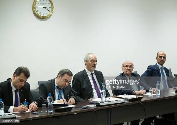 Syrian Permanent Representative to the United Nations and head of the government delegation Bashar alJaafari attends a meeting of IntraSyria peace...