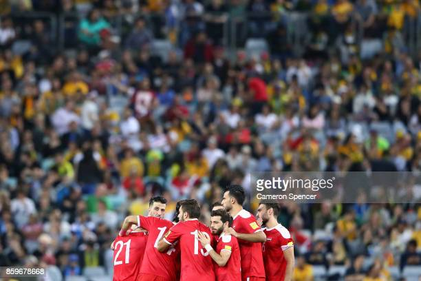 Syrian players huddle during the 2018 FIFA World Cup Asian Playoff match between the Australian Socceroos and Syria at ANZ Stadium on October 10 2017...