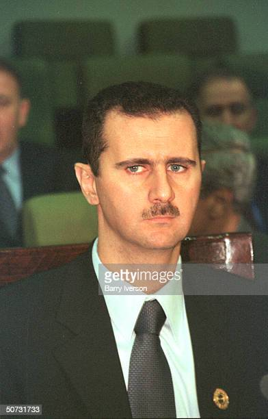 Syrian Pres Bashar alAssad in serious portrait during Arab League summit held October 2122