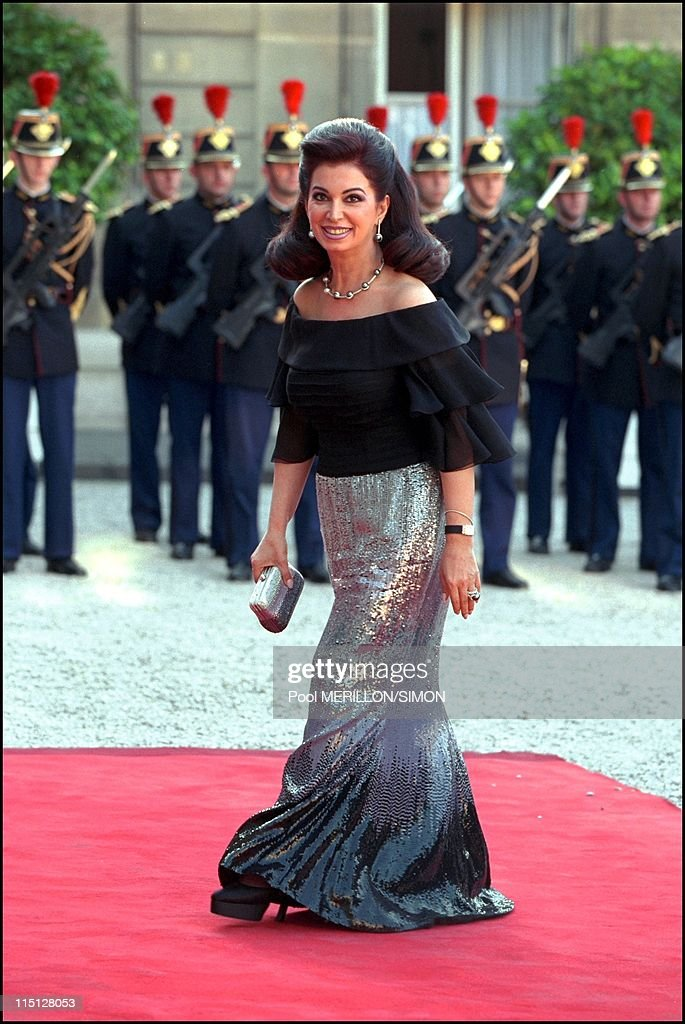 Syrian President Bachar Al Assad during the official dinner at Elysee Palace in Paris, France on June 25, 2001 - Mrs Rafik Hariri.