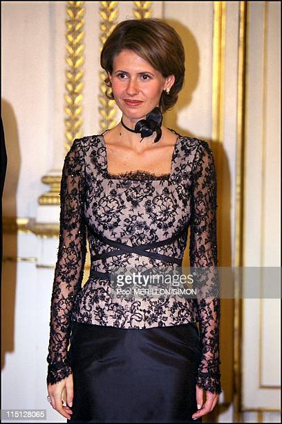 Syrian President Bachar Al Assad during the official dinner at Elysee Palace in Paris France on June 25 2001 Asma Al Assad