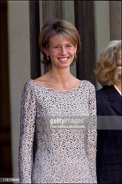 Syrian President Bachar AlAssad received at Elysee Palace in Paris France on June 25 2001 Asma Al Assad
