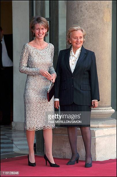 Syrian President Bachar AlAssad received at Elysee Palace in Paris France on June 25 2001 Bernadette Chirac and Asma Al Assad