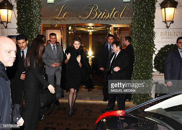 Syrian president Bashar alAssad and his wife Asma leave the Bristol hotel on December 9 2010 in Paris AlAssad is on a twodays official visit to...