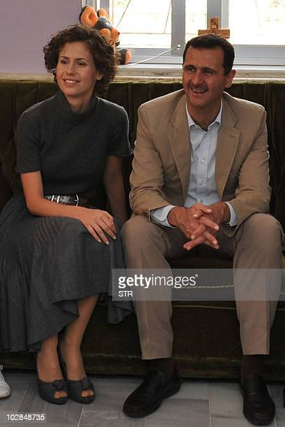 Syrian President Bashar alAssad and his wife Asma meet with orphans at the Mar Taqla convent in Maalula 60 kms north of Damascus on April 27 2008...