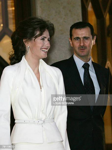 Syrian President Bashar alAssad his wife Asma arrive to attend the official launching ceremony of Damascus being named the 2008 cultural capital of...