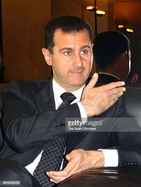 Syrian President Bashar alAssad speaks during the Asahi Shimbun interview on March 10 2009 in Damascus Syria