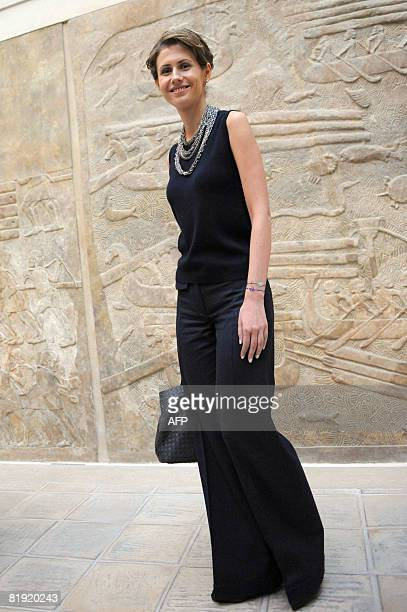 Syrian President Bashar alAssad's wife Asma alAssad visits the Louvre museum on July 13 2008 in Paris Syrian President made a comeback on the...