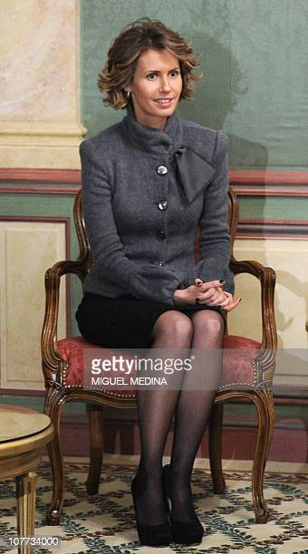Syrian president Bashar alAssad's wife Asma is seen at the Bristol hotel on December 9 2010 in Paris AlAssad is on a twodays official visit to France...