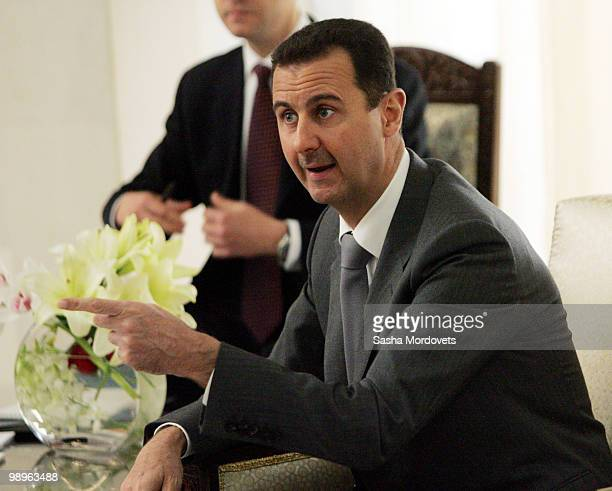 Syrian President Bashar Assad receives Russian President Dmitry Medvedev May 10 2010 in Damascus Syria Medvedev is on a twoday state visit and will...