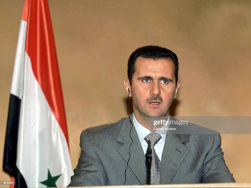 Syrian President Bashar Assad speaks at a press conference May 3, 2001 in Madrid, Spain. The Syrian president is on a three day official visit to Spain seeking a greater European role in Middle East peacemaking.