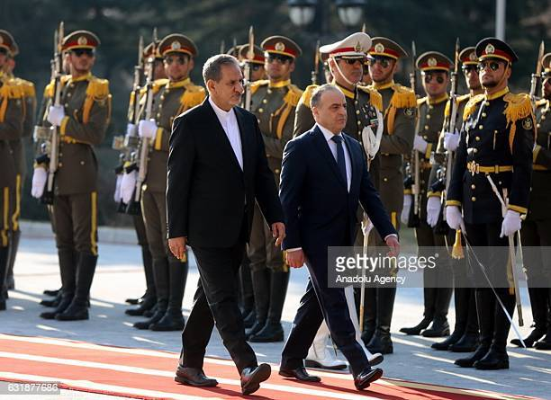 Syrian Prime Minister Imad Khamis is welcomed by First VicePresident of Iran Eshaq Jahangiri with an official ceremony at the Sa'dabad Complex in...