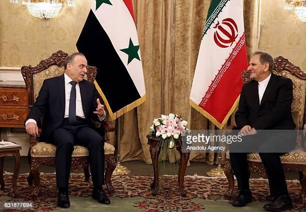 Syrian Prime Minister Imad Khamis meets First VicePresident of Iran Eshaq Jahangiri during his official visit at the Sa'dabad Complex in Tehran Iran...