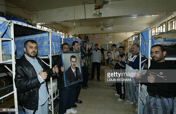 Syrian prisoners stage a protest and a hunger strike at the central prison in Adra 15 kms from Damascus in support of President Bashar alAssad who is...
