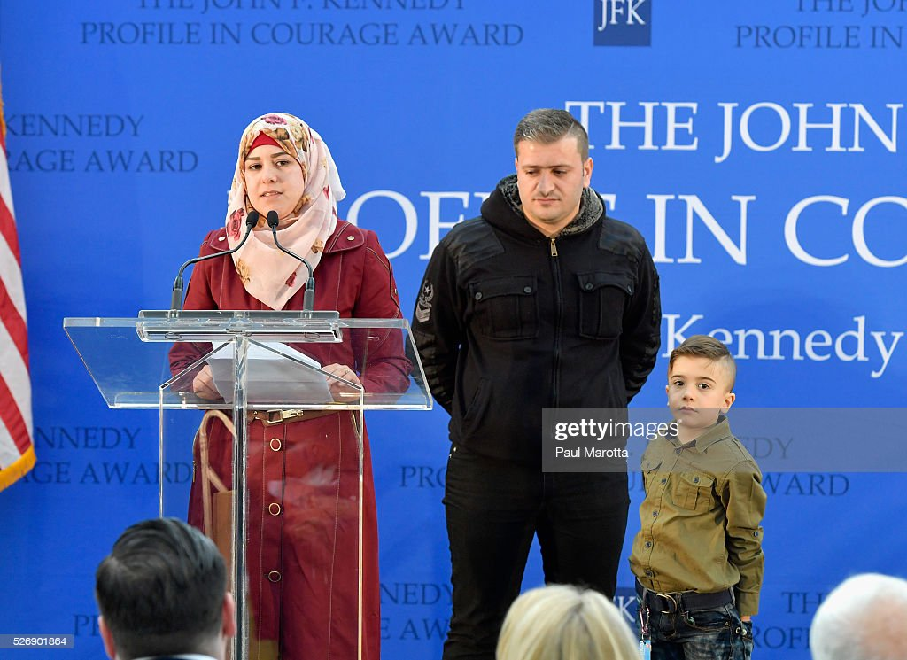 Syrian refugee family Fatemah, Abdulla and Ayham attend the the 2016 John F. Kennedy Profile in Courage Award Ceremony at The John F. Kennedy Presidential Library And Museum on May 1, 2016 in Boston, Massachusetts. In 2015 following the Paris terrorist attacks, Governor Malloy defended the U.S. resettlement of Syrian refugees and and personally welcomed a family of Syrian refugees to New Haven, Ct. after they had been turned away by the state of Indiana.