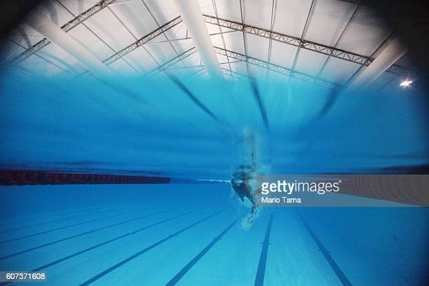 Syrian refugee Ibrahim Al Hussein swims during a practice session for media in a training pool during the Rio 2016 Paralympic Games at Olympic Park...