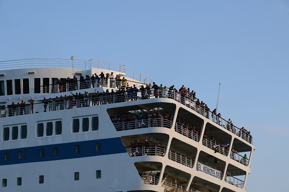 2176 Syrian refugees arriving from Mytilene (Lesbos) in the harbor of Piraeus with the special chartered by the Greek Go