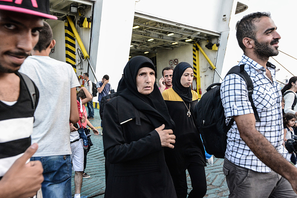 2176 Syrian refugees arriving from Mytilene (Lesbos) in the harbor of Piraeus with the special chartered by the Greek Government vessel Eleftherios Venizelos. In Piraeus on August 21. 2015