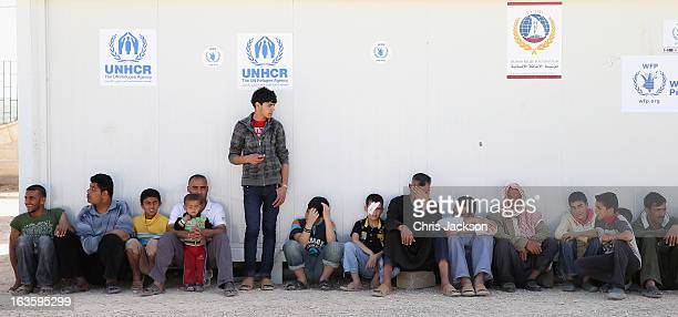 Syrian refugees at the King Abdullah Refugee Camp for Syrian refugees 2 kilometers from the Syrian border on the third day of Prince Charles and...