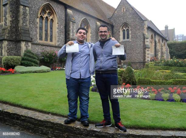 Syrian refugees Sulaiman Wihba and Elias Badin after collecting their Alevel results at Brighton College