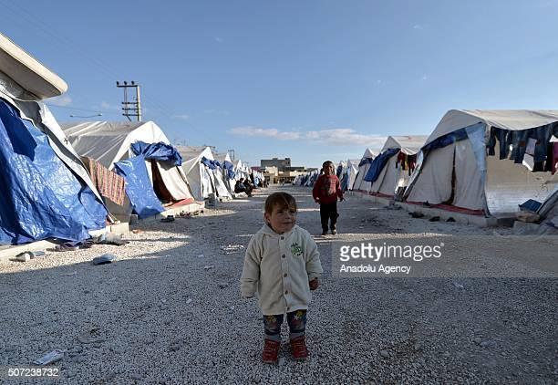 Syrian refugees who have escaped from Civil war in their country hopefully wait a good news from peace talks in Geneva at Suleyman Sah accommodation...