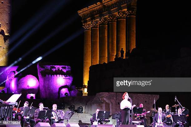 Syrian singer Mayada alHinnawi performs during the Baalbek international festival in Lebanon's eastern Bekaa Valley near the border with Syria on...