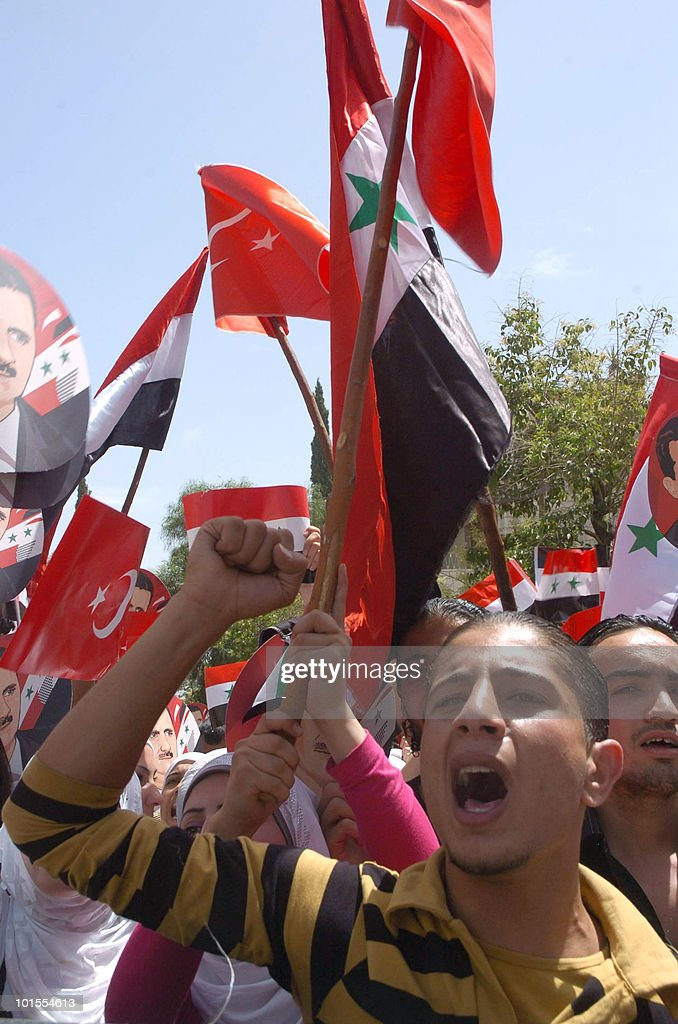Syrian students demonstrate on June 2, 2010 in Damascus against the deadly Israeli raid on the Gaza-bound flotilla and demand an end to the blockade on the impoverished Strip. AFP PHOTO/str