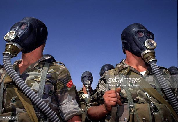 Syrian troops photographed during a gas mask training exercise during the run up to the first Gulf War