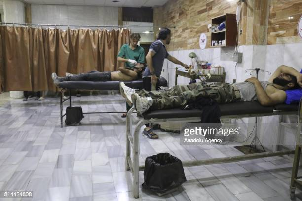 Syrians receive medical treatment at sahra hospital after Syrian regime allegedly conducted a poisonous gas attack with an unidentifiable substance...
