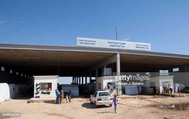 A'ZAZ ALEPPO SYRIA Syrians refugees camp under the border safety center at the border with Turkey in A'zaz Syria