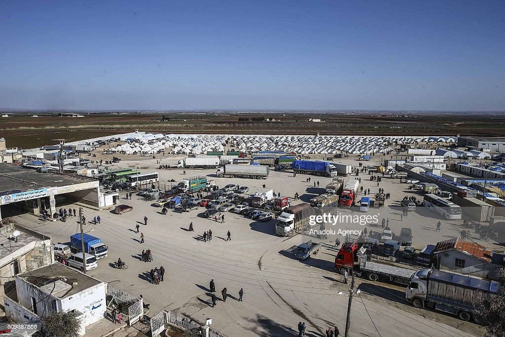 Syrians, who fled bombing in Aleppo, are seen at a tent city and close to the Bab al-Salam border crossing on Turkish-Syrian border near Azaz town of Aleppo, Syria on February 10, 2016. Russian airstrikes have recently forced some 40,000 people to flee their homes in Syrias northern city of Aleppo.