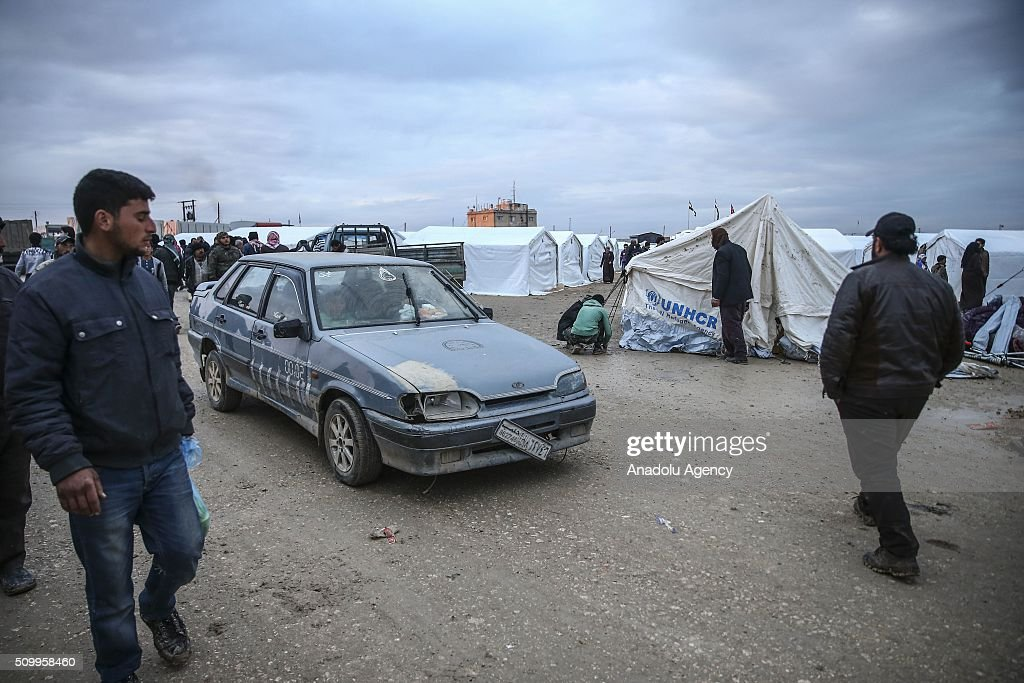 Syrians, who fled bombing in Aleppo, are seen at a tent city close to the Bab al-Salam border crossing on Turkish-Syrian border near Azaz town of Aleppo, Syria on February 13, 2016. Russian airstrikes have recently forced some 40,000 people to flee their homes in Syrias northern city of Aleppo.