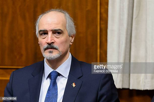 Syria's Ambassador to UN and head of the government delegation Bashar alJaafari looks on at the opening of Syrian peace talks with the Syrian...