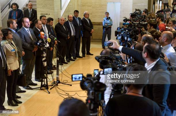 Syria's main opposition High Negotiations Committee leader Nasr alHariri speaks during a press conference folowing a meeting with UN Special Envoy...