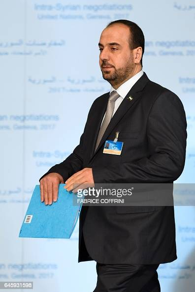 Syria's main opposition High Negotiations Committee leader Nasr alHariri arrives for a press conference after a meeting with UN Special Envoy during...