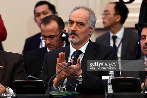 Syria's UN ambassador and head of the government delegation Bashar alJaafari attends the first session of Syria peace talks at Astana's Rixos...