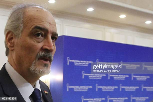 Syria's UN ambassador and head of the government delegation Bashar alJaafari attends the third round of Syria peace talks at the Rixos President...