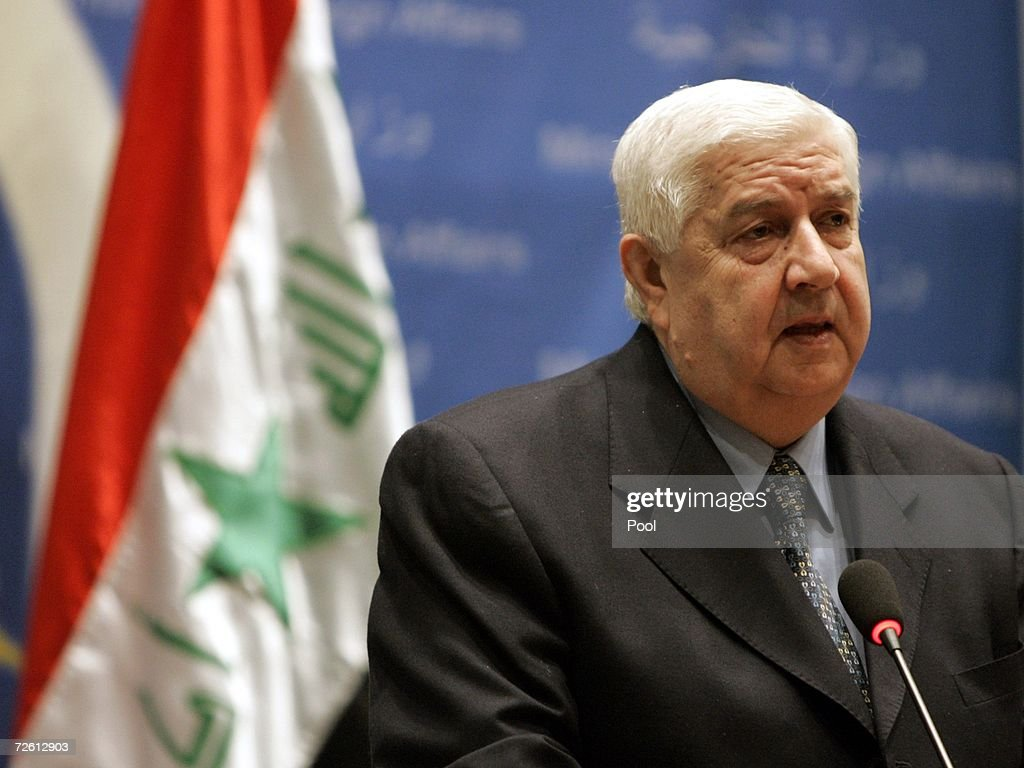 Syria's visiting Foreign Minister Walid alMoualem attends a press conference on November 21 2006 in Baghdad Iraq Zebari announced that Iraq and Syria...