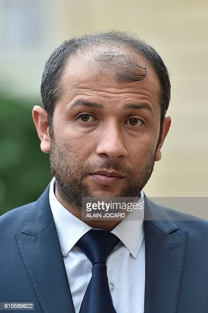 Syria's White Helmets leader Raed Saleh looks on after a meeting with France's President at the Elysee palace in Paris on October 19 2016 Named after...