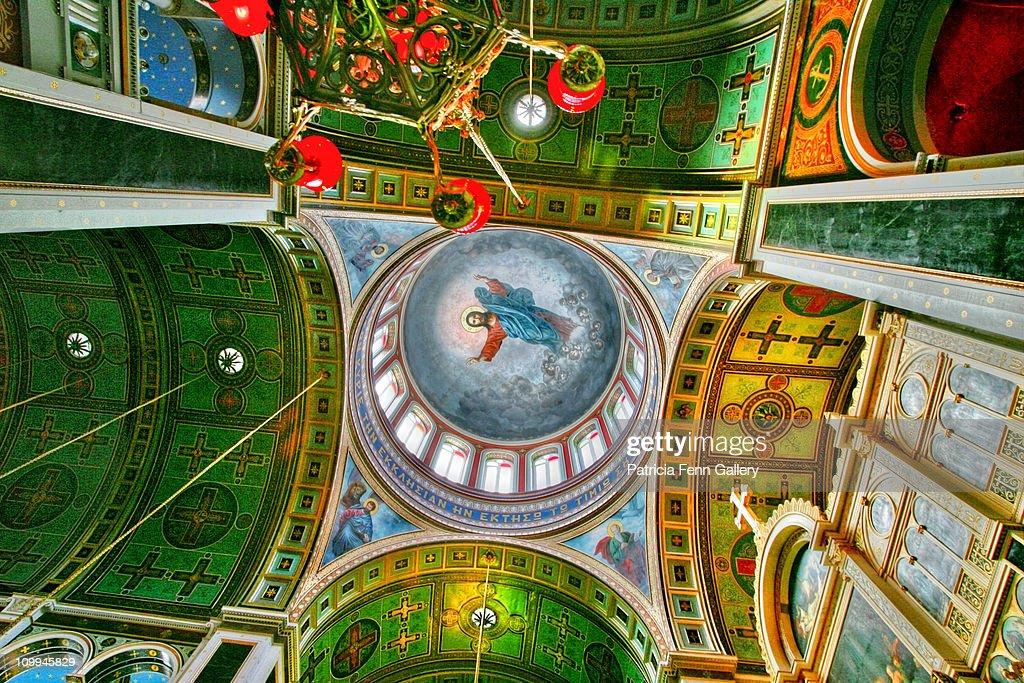 Syros ornate Church dome with fresco