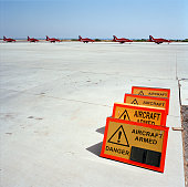 BAE System Hawks of the Red Arrows Britain's RAF aerobatic team and airfield signs landscape Six Hawk jet aircraft of the elite team taxi in after...