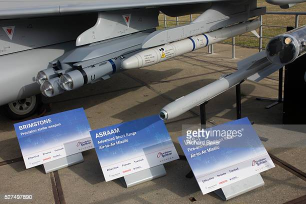 BAE Systems Typhoon jet fighter exhibited with missile and smart bomb systems at the Farnborough Air Show England Brimstone ASRAAM AND IRIST missile...