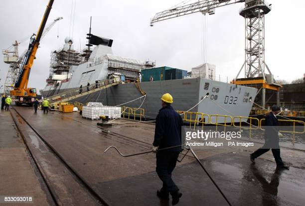 BAE Systems workers working on the worlds most advanced warship in the world to date HMS Daring pictured in the dry Dock at the Surface Fleet...