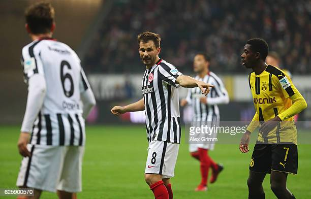 Szabolcs Huszti of Eintracht Frankfurt gives instruction during the Bundesliga match between Eintracht Frankfurt and Borussia Dortmund at...