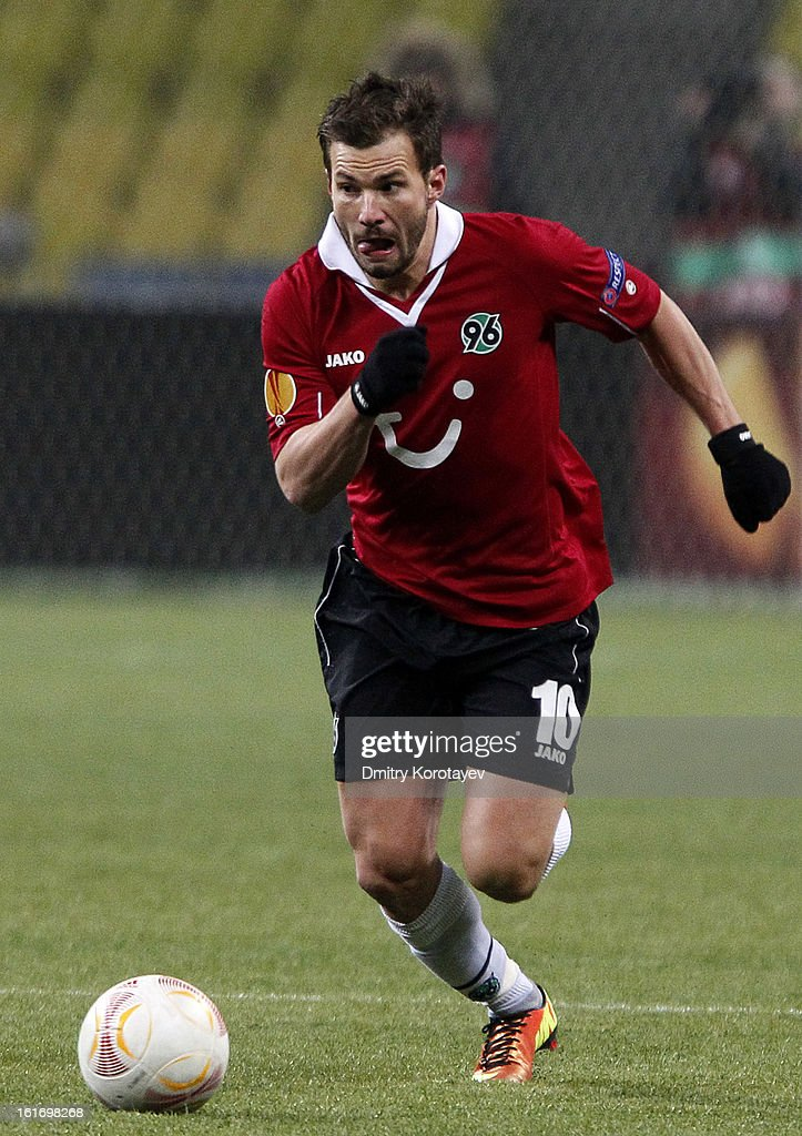 <a gi-track='captionPersonalityLinkClicked' href=/galleries/search?phrase=Szabolcs+Huszti&family=editorial&specificpeople=534472 ng-click='$event.stopPropagation()'>Szabolcs Huszti</a> of Hannover 96 in action during the UEFA Europa League Round of 32 first leg match between FC Anji Makhachkala and Hannover 96 at the Luzhniki Stadium on February 14, 2013 in Moscow, Russia.