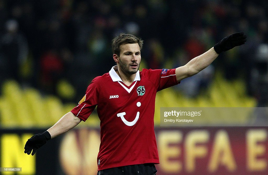 <a gi-track='captionPersonalityLinkClicked' href=/galleries/search?phrase=Szabolcs+Huszti&family=editorial&specificpeople=534472 ng-click='$event.stopPropagation()'>Szabolcs Huszti</a> of Hannover 96 reacts during the UEFA Europa League Round of 32 first leg match between FC Anji Makhachkala and Hannover 96 at the Luzhniki Stadium on February 14, 2013 in Moscow, Russia.